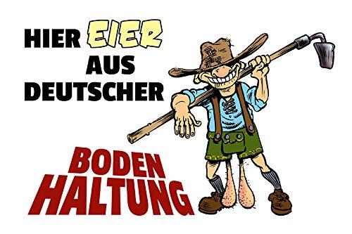 (ComCard Eier aus Deutscher Bodenhaltung Lederhosen Schild aus Blech, Metal Sign, tin, lustig, Comic, metallschild)