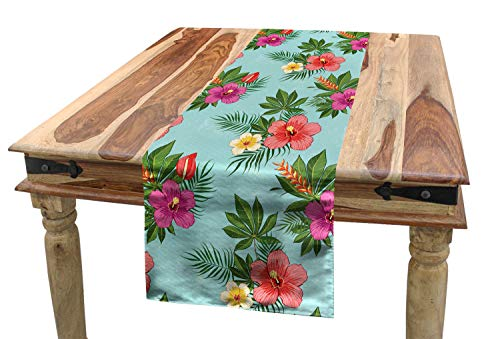 ABAKUHAUS Hawaii Tischläufer, Blühende Hibiscuses, Esszimmer Küche Rechteckiger Dekorativer Tischläufer, 40 x 225 cm, Mehrfarbig