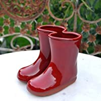 Miniature terracotta wellies vase with red glaze (12cm high)