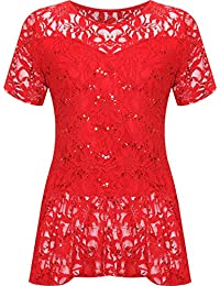 119140d09adff WearAll Plus Size Womens Lace Sequin Ladies Short Sleeve Peplum Frill Top -  14-28