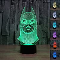 SmartEra® 3D Optical Illusion Batman modello, colore 7 che cambia, Fantastic pulsante USB tocco scrittorio LED lampada da tavolo luce