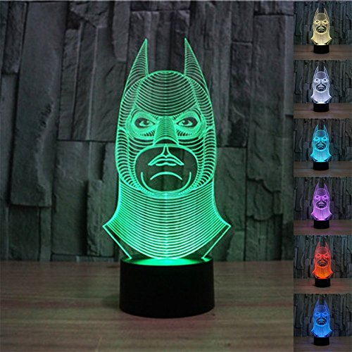 SmartEra® 3D optische Täuschung Batman Modell, 7 Farbwechsel , Fantastische USB-Touch-Taste LED-Schreibtisch Tabellen Licht Lampe