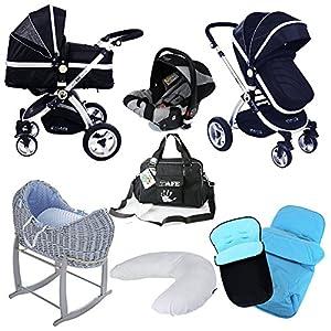 iSAFE 3in1 Black Pram System Bundle + Carseat + Noah Pod + Footmuffs + Changing Bag + Nursing Pillow   12