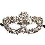 Lenfesh Maskerade Elegante Spitze Maske Catwoman Cutout Prom Party Maske Zubehör (Gold)
