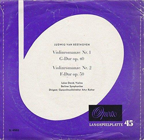 1g Single (Beethoven: Violinromanze Nr. 1 G-Dur op. 40. Violinromanze Nr. 2 F-Dur op. 50. Lukas David, Violine. Berliner Symphoniker. Artur Rother. Single Vinyl. Opera Europäischer Phonoklub St 4905)