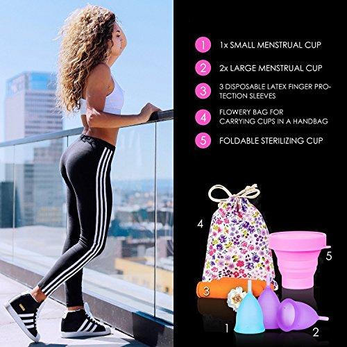 Melyth Menstruationstassen – (2x Groß & 1x Klein) – Kostenlose Faltbar Tragbare Reinigungsbecher – Finde deine Perfekte Passform Beste Alternative zu Tampons und Stoffbinden - 2