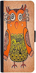 Snoogg Cute Owl On Real Cardboard Background Lacy Bird On Paper Designer Protective Phone Flip Case Cover For Zenfone Max
