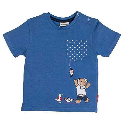 SALT AND PEPPER Baby-Jungen B T-Shirt Pirat Uni Print, Blau (Blue Melange 448), 86 (Boot-salz)