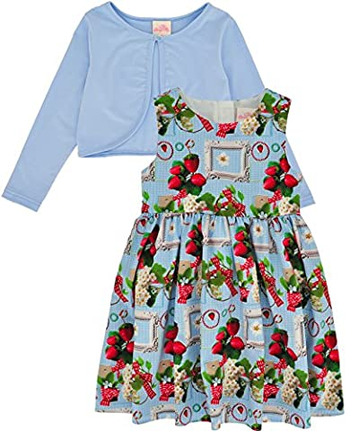 Bonny Billy Girls' 2 Pieces Floral Printed Dress and Knit Cardigan Set 8-9 Years Strawberry, Blue Outfit