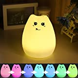 Excelvan - Cute Kitty Lampe Silikon Nachtlicht für Kinder mit Sensitive Tap Control Ändern 7 LED Leuchten Warm Licht Modi (C)