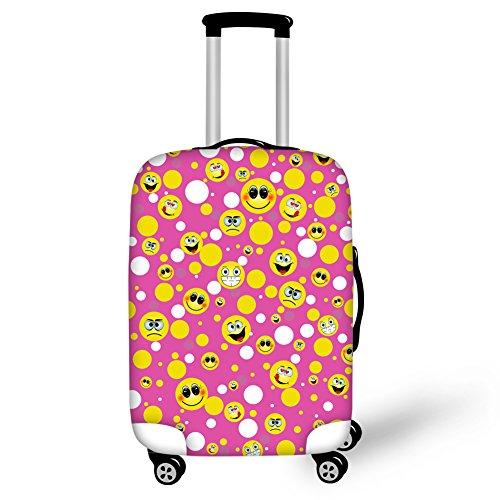 """Hugs Idea 45,7-76,2 cm niedliches Emoji-Print Gepäck, Koffer-Abdeckungen für Reisen Pink Emoji7 M (22\""""-26\"""" Cover)"""