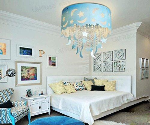 Blauer Mond und Sterne Kinderzimmer Kristall Decke Wohnzimmer Kronleuchter Schlafzimmer Jungen und M?dchen LED-Lampen Beleuchtung
