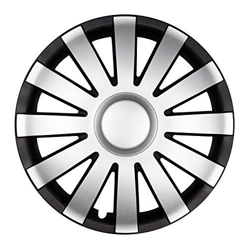 Autoteppich Stylers 16 Zoll Radkappen AGAT Schwarz-Silber matt (Farbe und Größe wählbar!) (16 Toyota Radkappen)