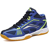 ASHION Damen Hallensportschuhe/Badminton-Schuhe Herren Squashschuhe Herren Badminton Schuhe Kinder Leicht Sportschuhe Turnschuhe (45 EU, Blau)