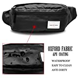 AOHAN BumBag Fanny Pack Waterproof Bum bags Waist Pouch Bag Travel Belt for Sports Camping Hiking Running Black