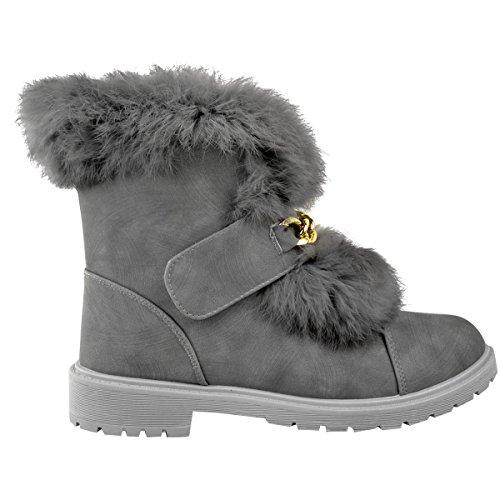Femme Low Furs Doublure Board Board Bord Bottines Chaussures D'hiver À Talons Bas Daim Synthétique Gris / Fourrure Fourrure