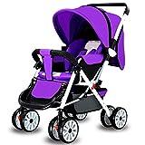 YKQ Kinderwagen für Kleinkinder Zwei-Wege-Push-und Lay Light Faltbare Dämpfung Komfort Baby Travel System 0-3 Jahre Alt Amerikanischen Stil