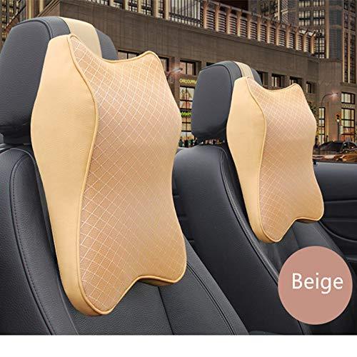 ZHL Auto Nackenkissen, Ice Silk Auto Kopfstütze Autositz Kopfnackenstütze Massage Memory Foam Kissen Unterstützung Kopfstütze,Beige - Kontur-massage-kissen