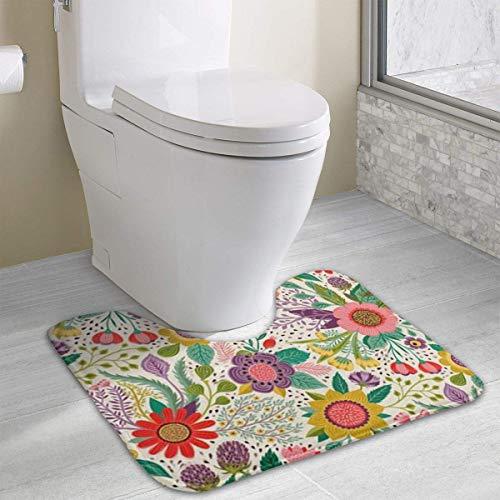 Hoklcvd Personalisierte Toilette Teppich-Schöne Blumen WC U-förmige MatCartoon weiche Matte Dusche Boden Teppich Badezimmer