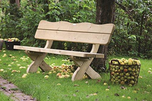 Gartenbank 'Farm' 120 cm, ländliche, rustikale Gartenbank, aus 60 mm dickem Fichtenholz