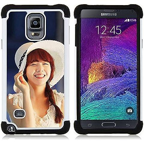 Hypernova Ibrido Heavy Duty Armatura antiurto Cover silicone cassa caso robusto Per Samsung Galaxy Note 4 IV / SM-N910 [Carino Koeran Ragazza Asiatica]