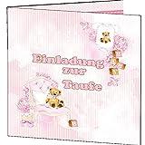 Einladung zur Taufe EInladungskarten Einladungen Rosa Mädchen It is a girl 10 Karten + Umschläge Taufeinladungen Klappkarten katholisch oder evangelisch Innentext selbst gestalten