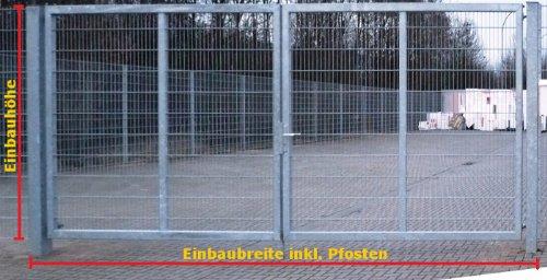 Einfahrtstor 2-Flügelig Verzinkt - Inklusive 2 x 100er-Pfosten / Einbau-Breite: 5m - Einbau-Höhe: 2m - Rahmen: 60 x 30mm / Mattentor Industrietor Gartentor