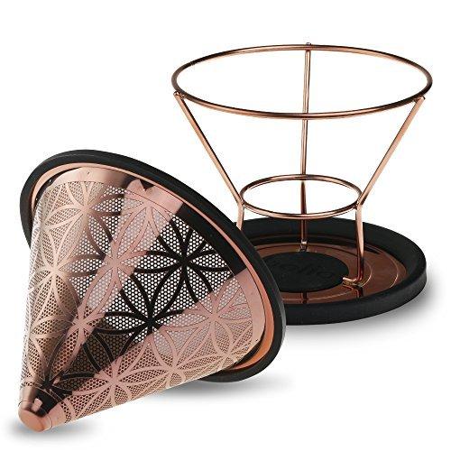 Titan Stahl wiederverwendbar Konus Kaffee Filter mit eleganten Blume des Lebens Karomuster No.2 gold