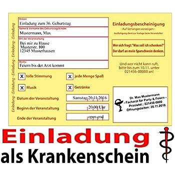 Lustig witzig einladungskarten geburtstag krankenschein for Amazon einladungskarten