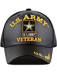 ca67f019125 The Hat Depot Official Licensed 3D Embroidered Soft Faux Leather Veteran Military  Cap (U.S.ARMY