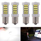 KaTur Leuchtmittel, 2 Stück,800Lumen, 1157 BAY15D 1016 1034 1196 2057 7528 63-SMD 2835 Chips, Super Weiße LED-Leuchtmittel, für Auto, Wohnmobil etc. Rückwärtsgang, Bremslicht, mit Linse, 12V, 12,6W