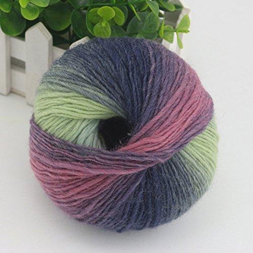 Kicode 1pc 53g Regenbogen Baumwolle Garn Bambus Protein Silk Fitness Strickanleitung Crochet Linie Charcoal Baby-Gewebe für Nähen (Blau-streifen-wolle-anzug)