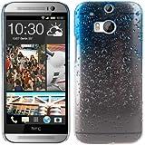 kwmobile Funda dura para HTC One M8 / Dual - Hard Case de plástico para móvil - Cover duro Diseño Gotas de lluvia en azul claro transparente