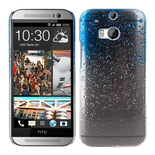 kwmobile Hülle für HTC One M8 / Dual - Backcover Case Handy Schutzhülle Kunststoff - Hardcase Cover Regentropfen Design Hellblau Transparent