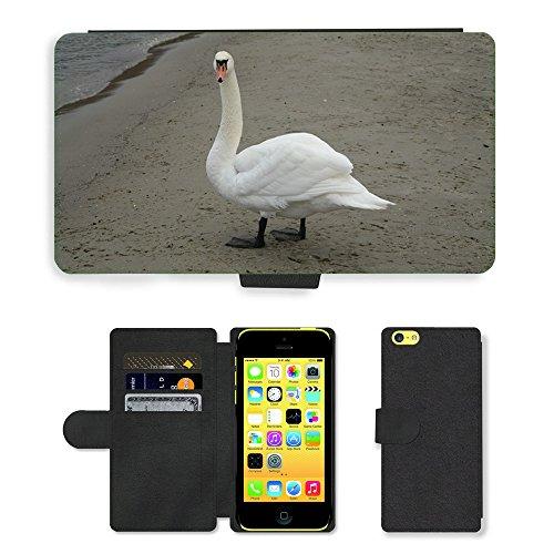 Just Mobile pour Hot Style Téléphone portable étui portefeuille en cuir PU avec fente pour carte//m00140303Cygne Plage Mer Sable d'Oiseaux la Côte//Apple iPhone 5C