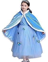 Dressystar Ensemble Costume Complet Robe De Cendrillon automne/hiver fille Robe de soirée fille de bal Enfant Princesse Reine des Neiges Cape à capuche