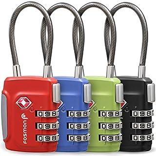 Fosmon Premium TSA Kabelschloss/Zahlenschloss/Vorhängeschloss/Reiseschloss/Gepäckschloss[4er Set|3 stellige Zahlencode][Rostfrei|Zink Legierung] Gepäck/Koffer USA- (Rot|Blau|Grün|Schwarz)