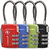 Fosmon Serrures à Bagages approuvées par la TSA, (4 Pack) Codes de Cadenas à Combinaison à 3 Chiffres avec Corps en Alliage - Noir, Vert, Rouge et Bleu