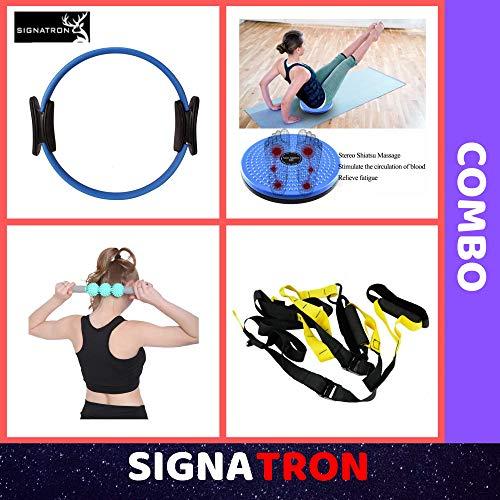 SIGNATRON Unisex Suspension Body Trainer Exercise Kit Band || Yoga Pilates Resistance Exercise Ring || Fitness Massage Stick || Tummy Twister.