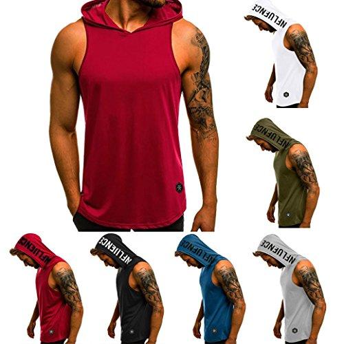 61b21b4007 QinMM Camiseta con Capucha de Tirantes Deportes para Hombre