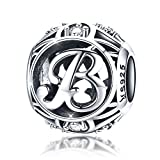 Abalorio de plata de ley 925 con letra B del alfabeto, compatible con pulseras Pandora europeas