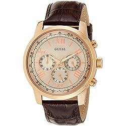 Guess W0380G4 - Reloj con correa de piel para hombre, color dorado/marrón