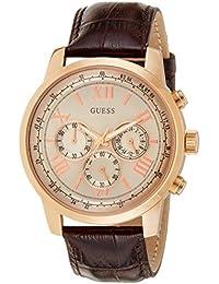 Guess W0380G4 - Reloj con correa de piel para hombre, color dorado / marrón