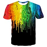 EOWJEED Unisex Casual 3D Kreatives Galaxy Pattern Gedruckt Kurzarm T-Shirts Top Tees - XXL