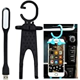Iceberg Makers.in Universal Best Multi-purpose Hug-me Mobile Cell Phone Charging Holder Hanger Hanging Key-chain Stand For Car Home Utility Flexible Silicone Rubber Grip (Black Colors)