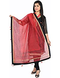 Red And Black Chanderi Dupatta With Pom Pom Border