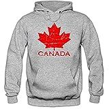 Shirt Happenz Canada Hoodie Ahornblatt Eishockey WM Kanada CAN Vintage Kapuzenpullover, Farbe:Graumeliert (Greymelange F421);Größe:S