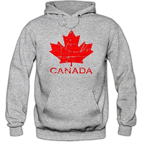 Shirt Happenz Canada Hoodie Ahornblatt Eishockey WM Kanada CAN Vintage Kapuzenpullover, Farbe:Graumeliert (Greymelange F421);Größe:M