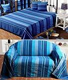 Homescapes waschbare Tagesdecke Sofaüberwurf Überwurfdecke Morocco 150 x 200 cm in Streifen-Design Bettüberwurf aus 100% reiner Baumwolle in blau