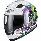 Shox Sniper Peacock Damen Motorrad Roller Rennsport Integralhelm M Weiß/Rosa/Neon Gelb - 2